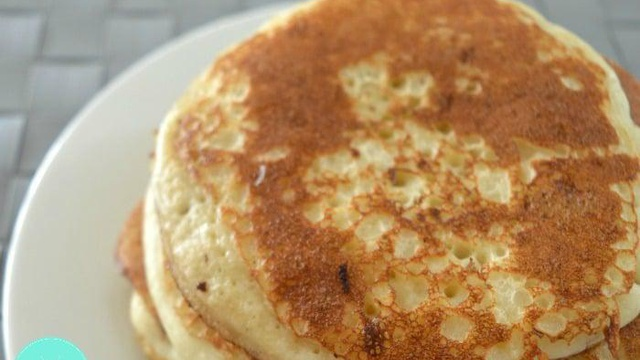 Stack of thick and airy golden brown pancakes