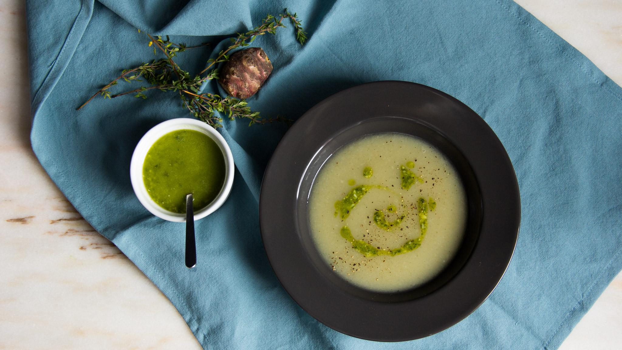 Jerusalem Artichoke Soup With Pesto Kenwood Recipes
