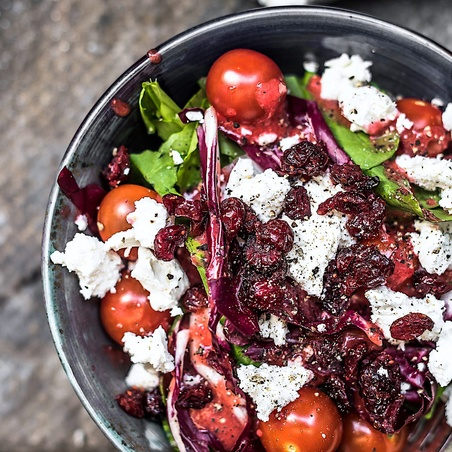 Goat Cheese Arugula Salad with Strawberry Dressing
