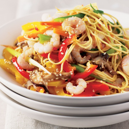 Shrimp and Vegetable Stir-Fry with Sesame Noodles
