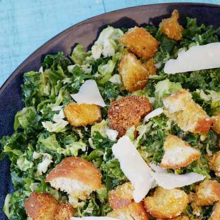 Brussels Sprouts Caesar Salad with Creamy Avocado Dressing