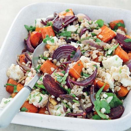 Roasted Vegetable & Pearl Barley Salad with Feta