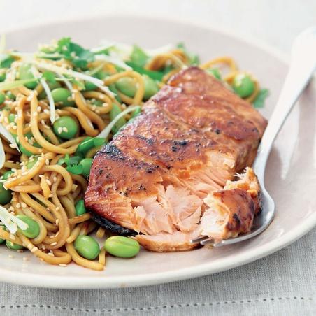 Teriyaki Salmon With Sesame Noodles and Sweet Peas