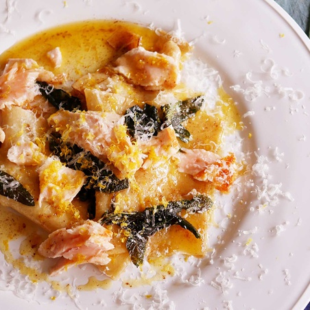 Sheet Egg Pasta With Salmon And Sage Brown Butter