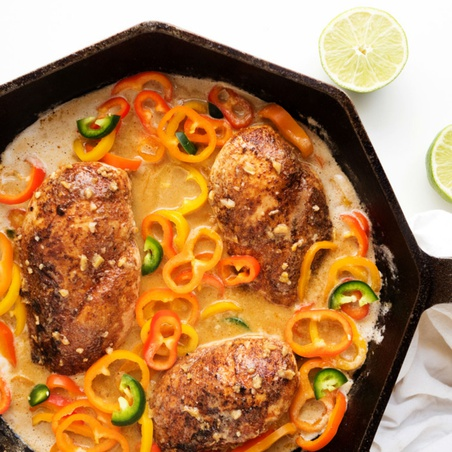 Coconut-Lime Chicken with Mini Peppers