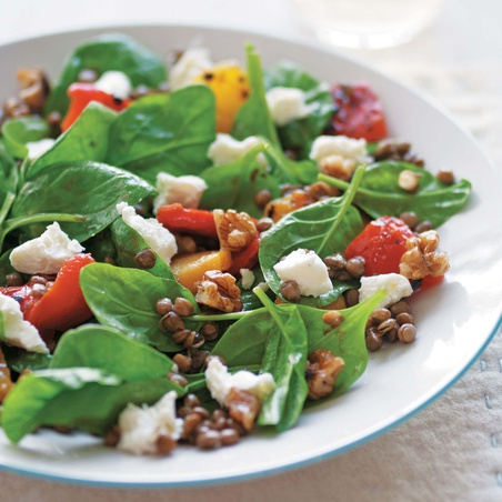 Lentil and Goat's Cheese Salad with Walnut Dressing